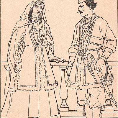 Man and Woman in National Costume
