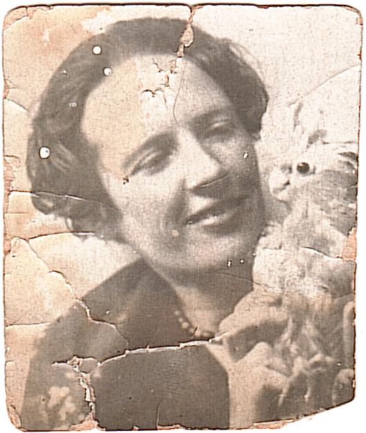 daughter René with parrot